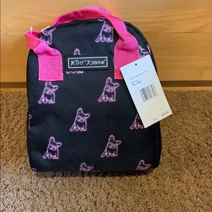 Betsey Johnson bulldog insulated lunch tote bag